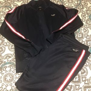Hollister Navy/Red Track Suit